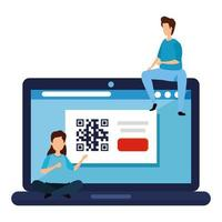 couple with code qr in laptop