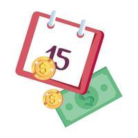 coins money with bills finance and calendar reminder vector