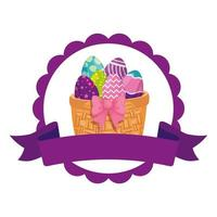 seal lace with eggs easter decorated in basket wicker vector