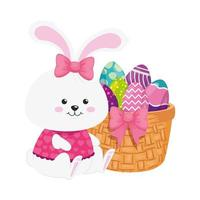 rabbit female and cute eggs easter decorated with basket wicker vector