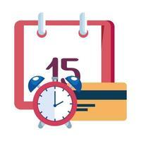 reloj despertador con recordatorio de calendario y tarjeta de crédito vector