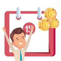 calendar reminder with businessman and coins