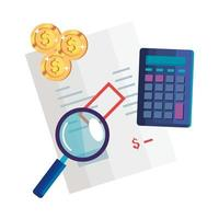 magnifying glass with calculator math and icons vector