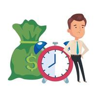 money bag with businessman and alarm clock vector