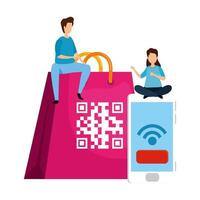 pareja con código qr en bolsa de compras y smartphone