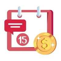 coin money with calendar reminder and speech bubble vector