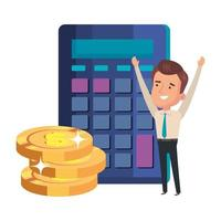 calculadora con empresario y pila de monedas