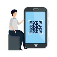 man and smartphone device with scan code qr