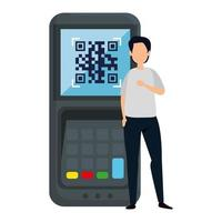 man and dataphone with scan code qr vector