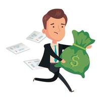 money bag with businessman and voucher paper vector