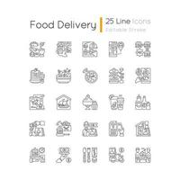 Food delivery linear icons set