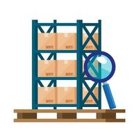warehouse metal shelving with boxes and magnifying glass