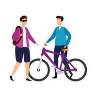 Hombres jóvenes con icono de personaje de avatar de bicicleta