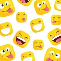 background of funny square emoticons vector