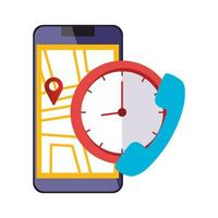 smartphone with map location app and icons vector