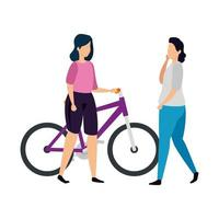 mujeres hermosas en personaje de avatar de bicicleta