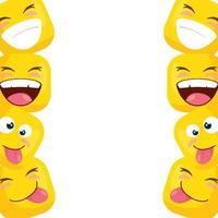 frame of funny square emoticons vector