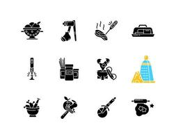 Kitchen tools black glyph icons set on white space