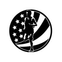 corredor de maratón americano corriendo círculo de bandera de estados unidos vector