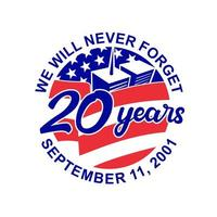 9-11 Memorial Patriot Day September 11 2001 vector