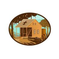 Cajun House and Gator Oval WPA Retro