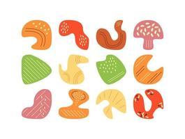 Picking autumn forest mushrooms in flat vector abstract elements set