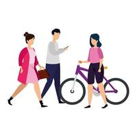 group people with bike isolated icons vector