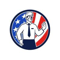 American Immigration Officer Mask Stop Hand Sign Icon