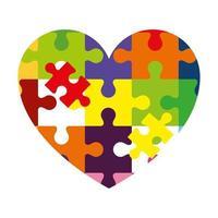 icono de corazón de piezas de rompecabezas
