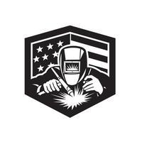 Welder Arc Welding USA Flag Crest Retro