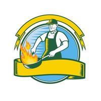 Chef Cooking Flaming Pan Circle Retro Mascot vector