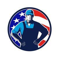 Trabajador de abarrotes con máscara bandera de Estados Unidos círculo retro