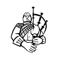 Scotsman Bagpiper Player Playing Bagpipes Front View Retro Black and White vector