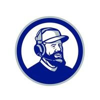 Coach with Beard and Headphones Circle Retro