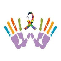 handprints with ribbon of puzzle pieces icon