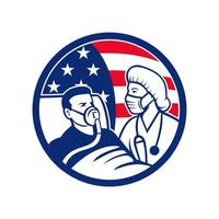 Nurse Caring For COVID-19 Patient USA Flag Circle