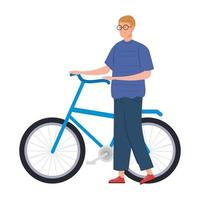 young man with bike avatar character icon vector