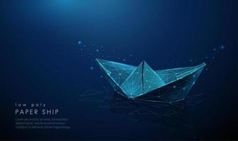 Abstract paper ship. Low poly style design. vector