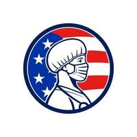 American Nurse Wearing Mask Side USA Flag Mascot