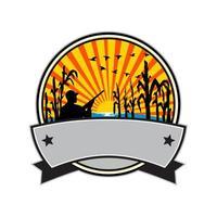 cazador de patos en el campo de maíz círculo retro vector