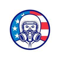 Trabajador industrial americano vistiendo mascota rpe