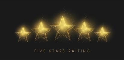 5 stars raiting. Abstract golden stars. Low poly style design vector