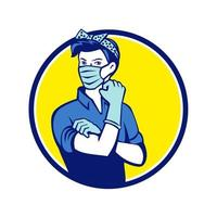 Rosie The Riveter Wearing Mask Circle Mascot