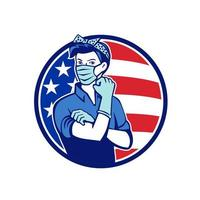 Rosie The Riveter Wearing Mask USA Flag Mascot
