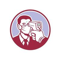 icono de detección de coronavirus retro vector