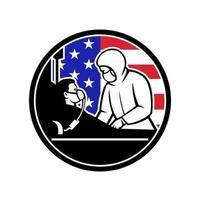 doctor tratar covid-19 paciente estados unidos bandera circulo retro