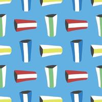 Vector seamless texture background pattern. Hand drawn, colorful on blue background.