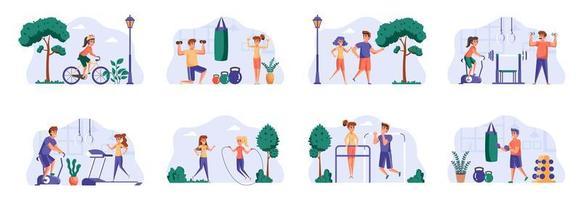 Paquete de escenas de fitness con personajes de personas. vector
