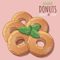 Group of vector illustrations on the sweets theme set of different kinds of donuts decorated with powdered sugar and mint. Realistic isolated objects for your design.