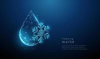 Low poly falling drop of water and snowflake. vector